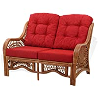 Malibu Lounge Loveseat Sofa Natural Rattan Wicker Handmade Design with Burgundy Cushions, Colonial