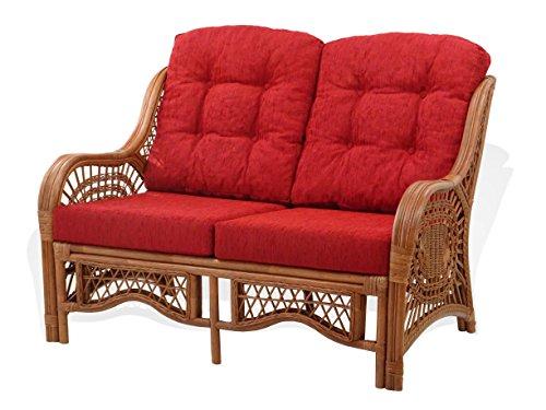 Lounge Malibu Loveseat Sofa ECO Natural Rattan Wicker Handmade Design with Burgundy Cushions, Cognac