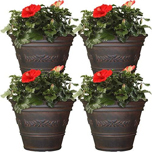 Sunnydaze Laurel Flower Pot Planter, Outdoor/Indoor Heavy-Duty Double-Walled Polyresin, UV-Resistant Rust Finish, Set of 4, 13-Inch Diameter