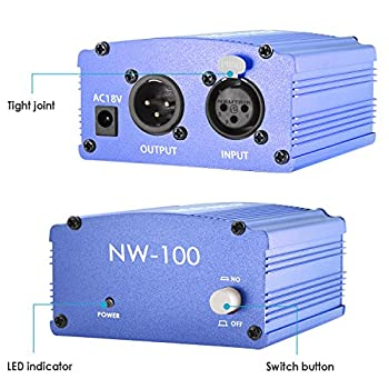 Neewer 1-channel 48v Phantom Power Supply With Adapter & Xlr Audio Cable For Any Condenser Microphone Music Recording Equipment (Blue) 4