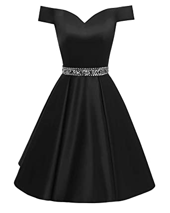 68e47166eea Changuan Women s Short Beaded Prom Dresses Off The Shoulder Backless  Homecoming Dress Black-2