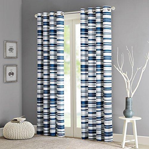 Intelligent Design ID40-564 Sadie Cotton Stripe Printed Curtain, 50 x 63