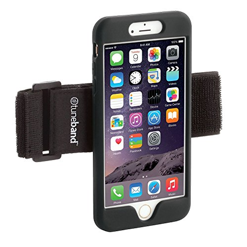 TuneBand LITE for iPhone 6 and iPhone 6S, Premium Sports Armband with Silicone Skin and Armband (Black)