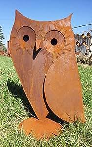 Búho Úrsula 3d Altura 71cm oxidado óxido óxido Figura Figura de metal animales UHU mochuelo + ORIGINAL instrucciones de lavado de piedra figuras Mundo