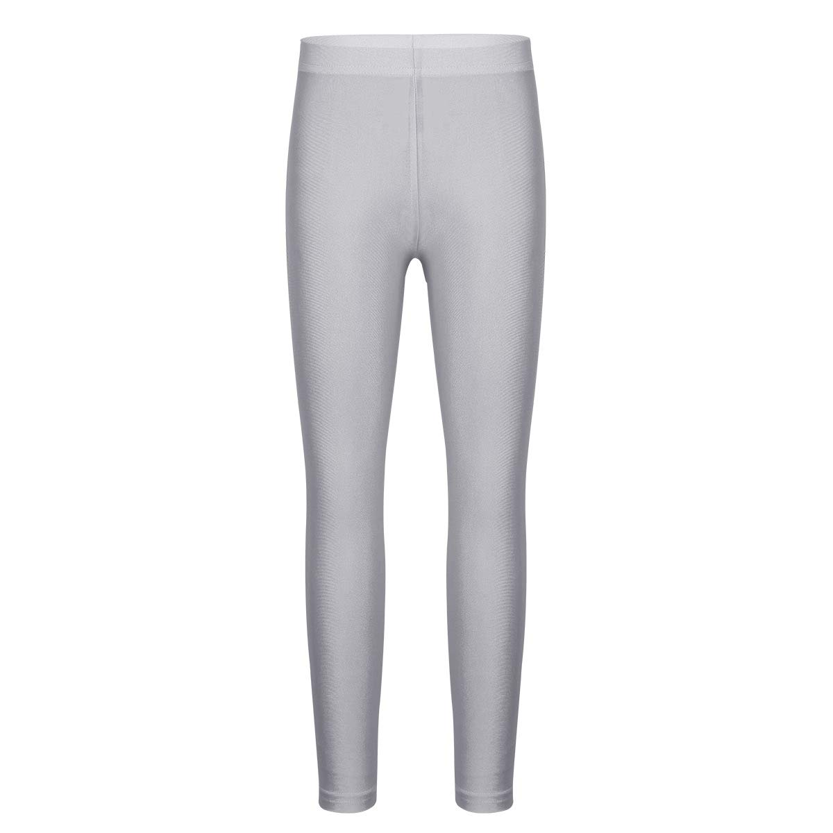 ACSUSS Girls Metallic Leggings Pants High Waist Dance Gymnastic Workout Stretchy Wet Look Footless Tights Pants Silver-Grey 5-6