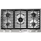 "Dacor RNCT365GSNG 36"" Renaissance Natural Gas Cooktop with 5 Sealed Burners Die Cast Knobs Perma-Flame Technology Continuous Grates and Smart Flame Technology: Stainless"