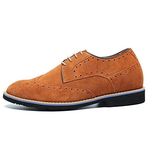 CHAMARIPA Zapatos Brogues Gamuza para Hombre para ser 7 cm más alto - L61C20K013D Marrón