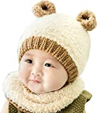 Ababalaya Unisex-Baby Cute Winter Warm Beanie Knitted Earflap Cap With Scarf 6M-3Y,Beige Bear