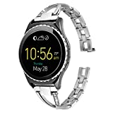 Lwsengme Watch Band for Samsung Gear S3 Classic,S3 Frontier,Steel Bracelet/Strap/Cuff with Quick Release for Womens Width 22mm Watch,Smart Watch (NOT include Watch Fitness)(22mm-Silver-02)