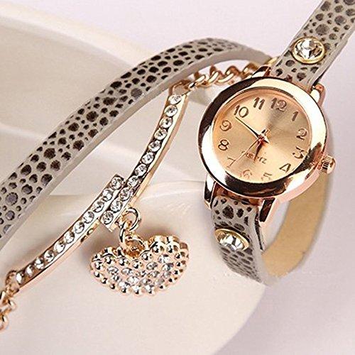Women's Fashion Rhinstone Faux Leather Wrap Bracelet Quartz Watch with Heart Pendant