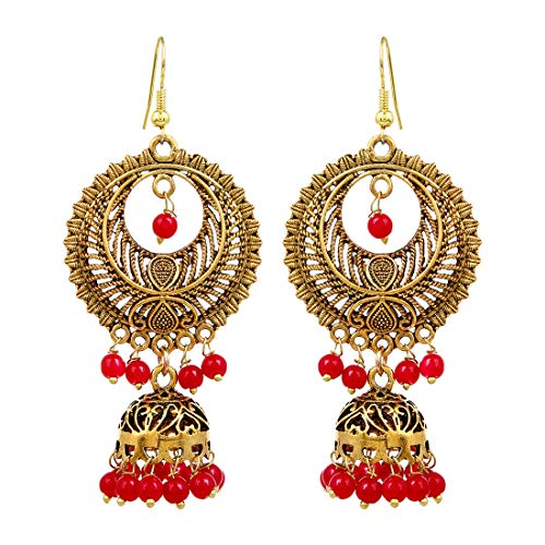 Sansar India Beaded Gold Plated Long Jhumka Indian Earrings Jewelry for Girls and Women