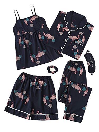 SheIn Women's 7pcs Pajama Set Cami Pjs with Shirt and Eye Mask (Medium = US 0-2, Navy#3)