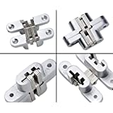 Premium Mortise Mount Invisible/Concealed Hinges (2-3/8 Leaf Height) with 4 Holes (2 Hinges), Zinc Alloy, Satin Nickel Finish, 1/2 Leaf Width, 23/32 Leaf Thickness, Easy to Install