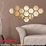 Wall1Ders Hexagon Golden 3D Acrylic Mirror Wall Dã©Cor Stickers For Home & Office (Pack Of 13)