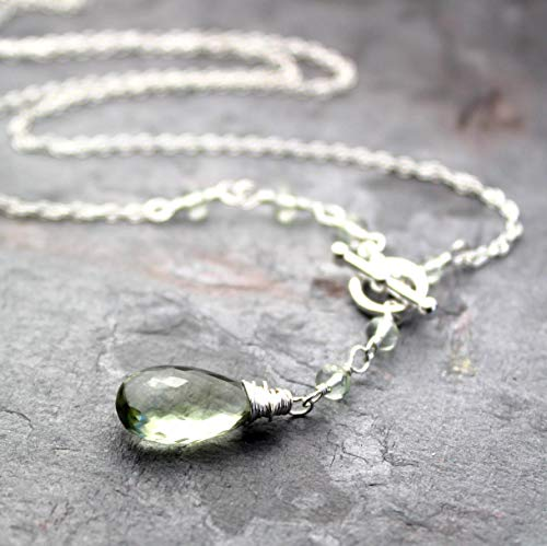 Green Amethyst Necklace Sterling Silver Toggle Clasp Front Close Prasiolite Asymmetrical