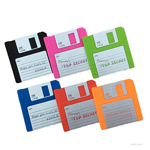 Set of 6 Labelled Retro Floppy Disk Silicone Bar Drink Coaster 3.5