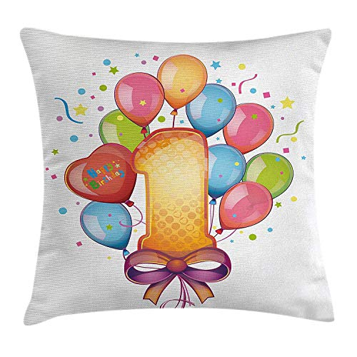 ZOZGETU Pillow Cases,1st Birthday Decorations Throw Pillow Cushion Cover, Theme Kids First Party with Balloons Stars and Dots Image, Decorative 18x18 inchs Pillowcase with Zipper, 18 X 18 Inc ()