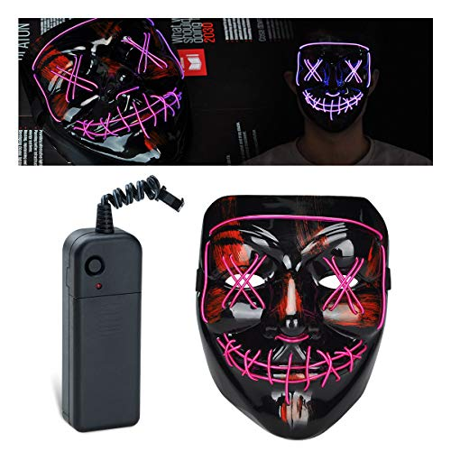 lychee Halloween Mask LED Light Up Mask for Festival Cosplay Halloween Costume (Purple) -