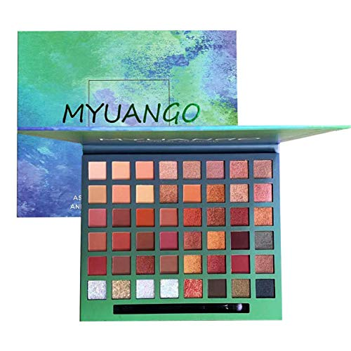MYUANGO Professional Makeup Palette Eye Shadow Christmas Makeup With 48 Shades Natural Neutrals Warm Tone Rock Metal Matte Shimmer Bronze Glitters Diamond Burgundy Earth Tones With Eyeshadow Brush (Palette Christmas)