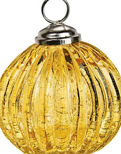 Kaputar Ribbed Glass Bauble Place Card Holder (2.25-Inch, Amber Yellow) - for and Tabletops   Model WDDNG -80