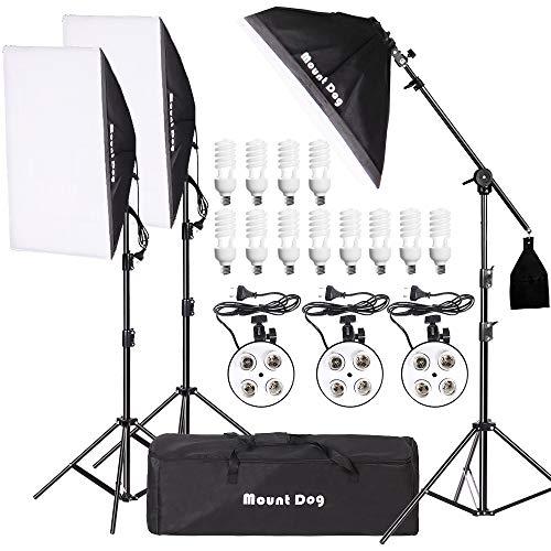 MOUNTDOG 2400W Softbox Phogography Lighting Kit 20'x 28' Softbox3 Professional Continuous Light Set 12X45W E27 5500K Bulbs Camera Photo Studio 4 Socket Headlight Portrait Photoshooting Portraits from MOUNTDOG