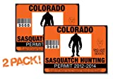 Colorado-SASQUATCH HUNTING PERMIT LICENSE TAG DECAL TRUCK POLARIS RZR JEEP WRANGLER STICKER 2-PACK!-CO