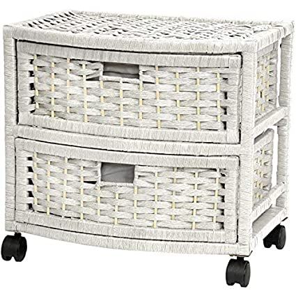 Wicker Storage Drawer   2 Drawer Storage Chest With 4 Castered Wheels    White