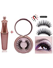 FOONEE Magnetic Eyeliner With 4D Magnetic Eyelashes Kit, Professional Long Lasting Waterproof Sweat-proof Magnetic Liquid Eyeliner With 5 Magnets False Lashes, Natural