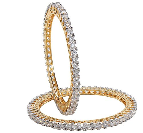 Indian Beautiful Party Wear Gold Polished Finished Cubic Zircon Bangles Pair (2.8)