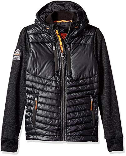 Superdry Men's Storm Softshell Hybrid Zip Hooded Jacket, Black Granite Marl, M