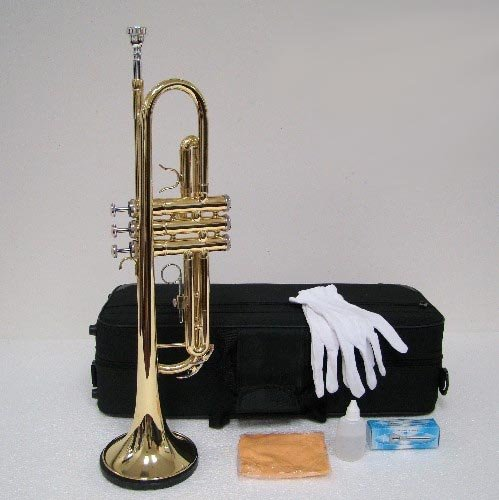 Merano B Flat GOLD / Silver Trumpet with Case+Mouth Piece+Valve Oil+Metro Tuner+Black Music Stand by Merano