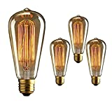 Edison Vintage Bulbs 60W 110V Retro Old Fashioned Antique Style ST64 - Squirrel Cage Tungsten Filament Glass Incandescent Lighting Bulb (Pack of 3)