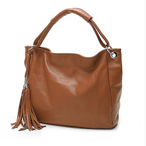 BYD - Mujeres Carteras de mano Color puro Alta calidad PU cuero Mutil Function Fashion School Bag Work Office Bag Bolsos totes Fringe Amarillo