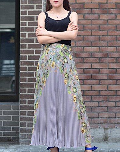 ... Cheerlife Elegant Vintage Damen Blumenmuster Faltenrock Plisseerock  Maxirock mit Rüschen Elatieche Bund A-Linie Falten ... 2430d94500