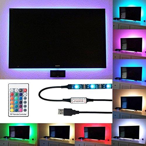 - LightingWill LED TV Backlight Strip Lights, 1M/3.28Ft RGB Multi-Color Bias Lighting Kit for 40-60inch HDTV, 5V USB SMD5050 30leds/M TV Background Lights with RF Remote Controller