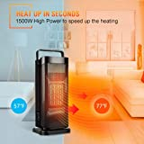 Trustech Oscillating Ceramic Tower Heater for Office Home Indoor Use, Seconds Portable Personal Heating Fan with Adjustable Thermostat, Vertical, Black