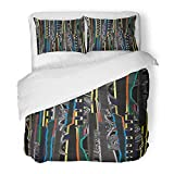 Emvency Bedding Duvet Cover Set Twin (1 Duvet Cover + 1 Pillowcase) Abstract Composition of Modern Raster with Minimalist Collage Pasted with Glitch 3D Hotel Quality Wrinkle and Stain Resistant