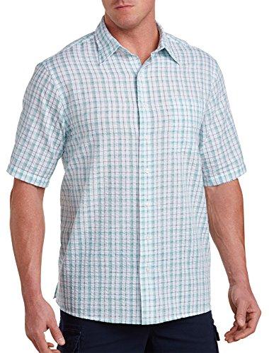 Harbor Bay Big & Tall Seersucker Sport Shirt Multi Green (Seersucker Big Shirt)