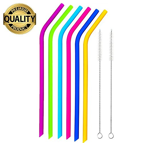 Price comparison product image REGULAR SIZE Silicone Straws for 20 and 30 oz Yeti / Rtic Tumbler- Extra Long Flexible Curved Drinking Straws with Cleaning Brushes Bundle 6 Pack- Reduce Plastic Pollution