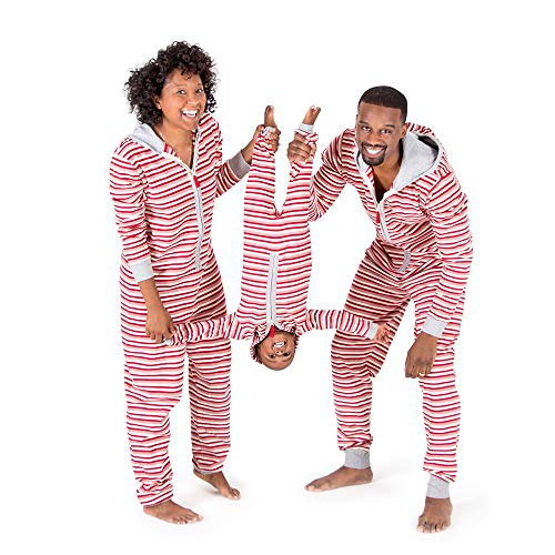 Burt's Bees Baby Unisex Adult Holiday Family Jumpbees, Peppermint Stripe Jumpsuit, One-Piece Romper, Small