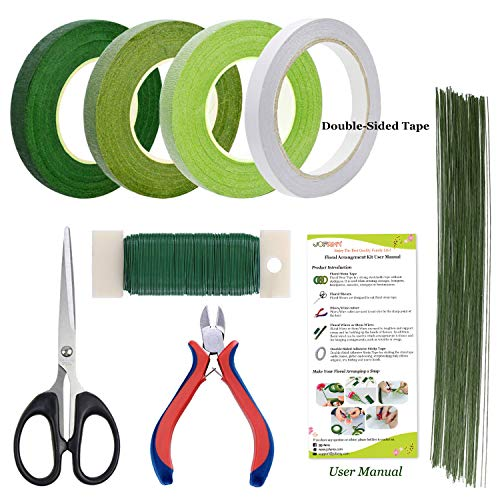 Floral Arrangement Kit Tools, 8 Pcs Floral Supplies Come with Green Floral Tape, Floral 26 & 22 Guage Stem Wire, Floral Wire Cutter, Shear for Men and Women Floral Design (Beautiful Floral Arrangements)