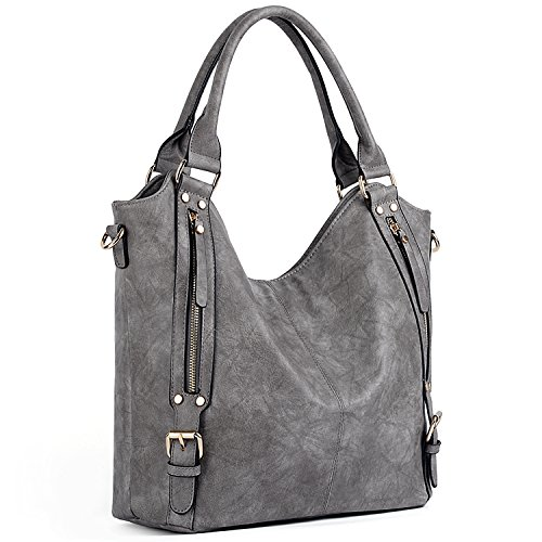 UTO Women Handbags Hobo Shoulder Bags Tote PU Leather Handbags Fashion Large Capacity Bags B Grey