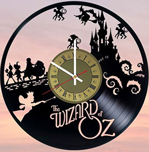 STP Cat Wizard of Oz Vinyl Wall Clock - Handmade Artwork Home Bedroom Living Kids Room Nursery Wall Decor Great Gifts idea for Birthday, Wedding, Anniversary - Customize Your Clock (Gold/White) ()