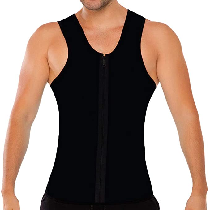 69147b6698b56 Men s Slim Vest Bodybuilding Sport Fitness Sleeveless Workout Top Zipper  Shaperwear Tank Tops (S