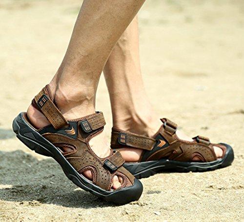 Chickle Leather Toe Sandal Men's Velcro Closed Coffee T8qSTw