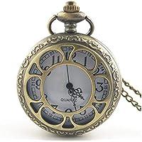Florencinid Vintage Hollow out Flower Moda Hombres Mujeres Reloj de Bolsillo de Cuarzo Unisex Collar Colgante Relojes con Cadena Mejores Regalos