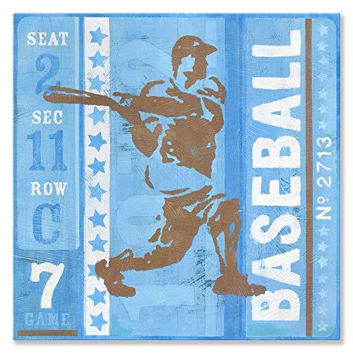 Oopsy Daisy Game Ticket - at Bat Canvas Wall Art 14x14 Blue ()