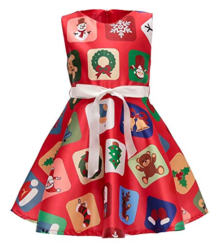 AYOMIS Flower Girl Christmas Ruffles Dress Kids Party Cartoon Wedding Xmas Tutu Red Dresses 2-9 Years(Xmas Red-2,3-4Y) -