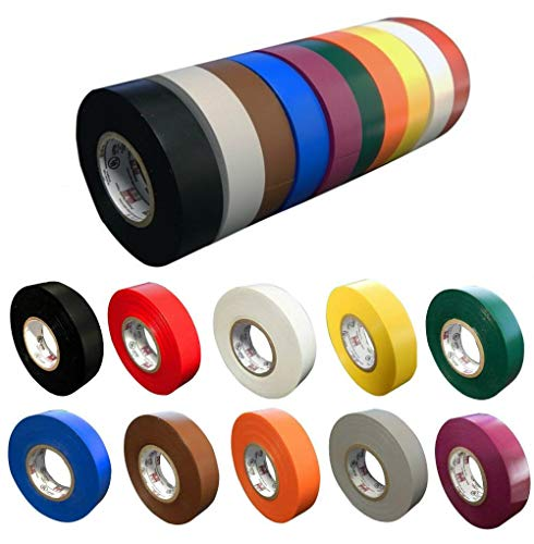 "10 Pack: Colored Electrical Tape by Morris Products, 10 Colors Electric Tape, each 3/4"" x 60 ft x 7mil Comparable to 3M 1700 & 1400; Black, Red, White, Yellow, Green, Blue & More Over $50 Value"