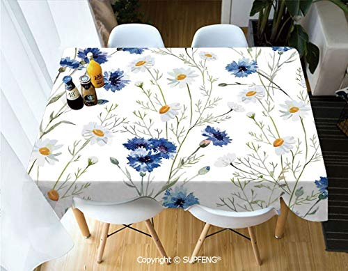 Picnic Tablecloth Wildflowers and Cornflowers Daisies Blooms Flower Buds (60 X 120 inch) Great for Buffet Table, Parties, Holiday Dinner, Wedding & More.Desktop Decoration.Polyester Wrinkle-Free